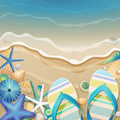 Flip-flops and shells on the beach. — Vector de stock