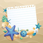 Greeting card with shells and starfishes — Stock Vector