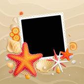 Cuadro, conchas y estrellas de mar sobre fondo de arena — Vector de stock