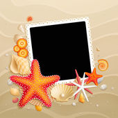 Picture, shells and starfishes on sand background — Stock Vector