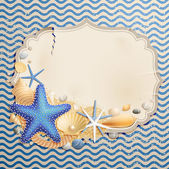 Vintage greeting card with shells — Vector de stock