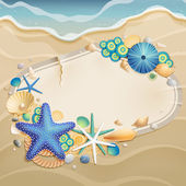 Vintage greeting card on sand — Stock Vector