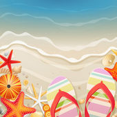 Flip-flops and shells on the beach — Vector de stock