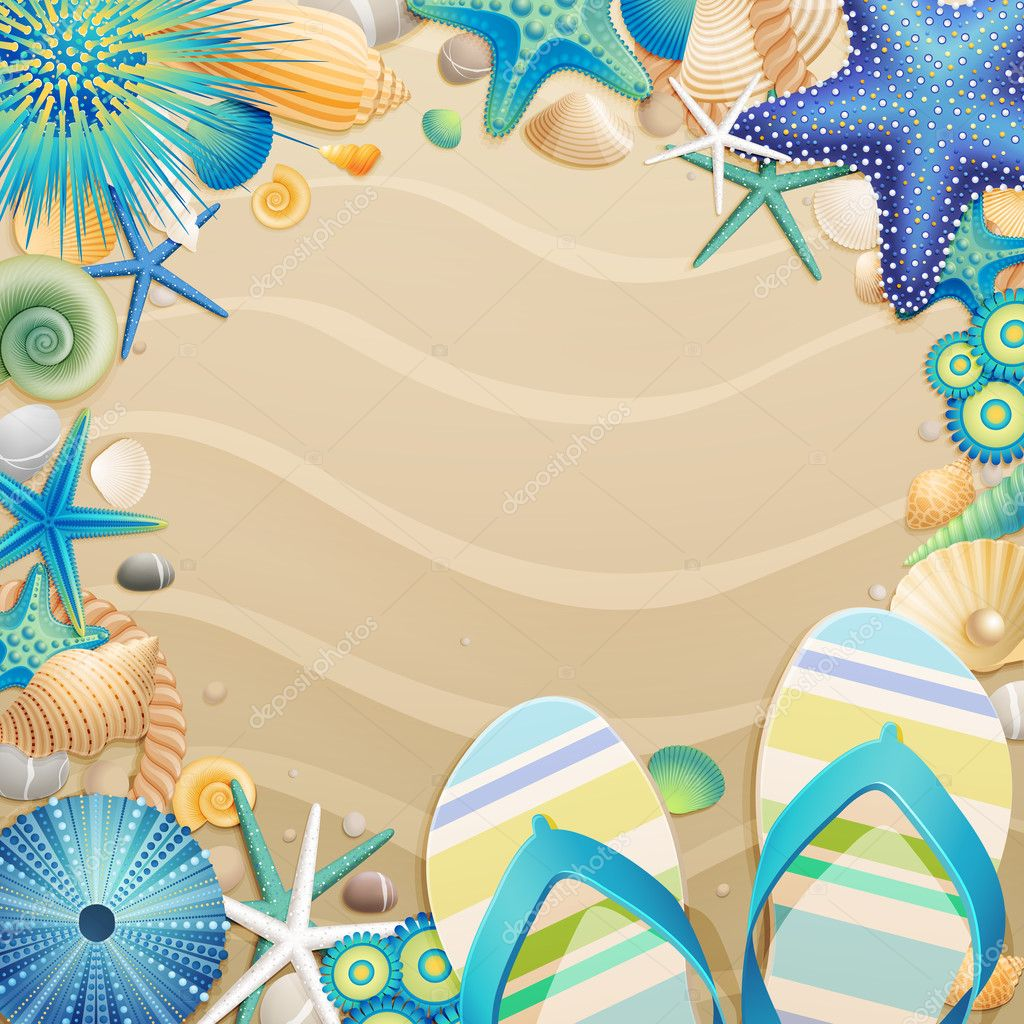 Flip-flops and shells frame on the beach. Vector illustration. — Stock Vector #6488078