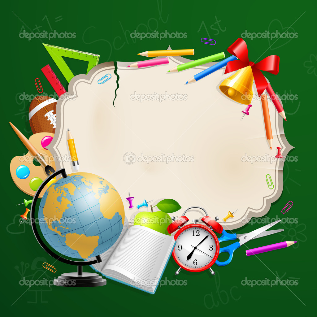 Back to school greeting card with stationery. Vector illustration.  Stock Vector #6488516