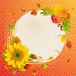 Stock Vector: Autumn vintage greeting card