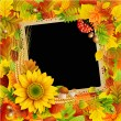 Picture on autumn background — Stock Vector