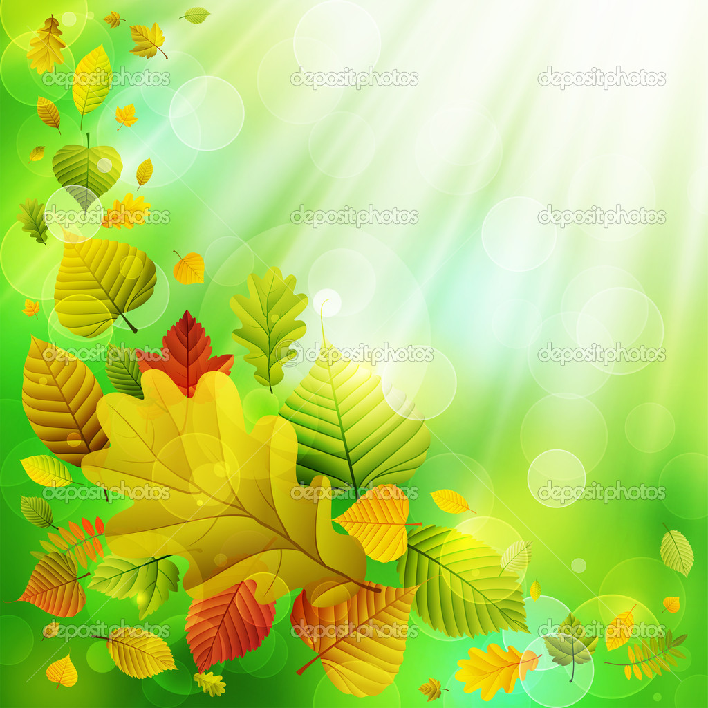 Autumn background with colorful leaves and place for text. Vector illustration — Stock Vector #6659350