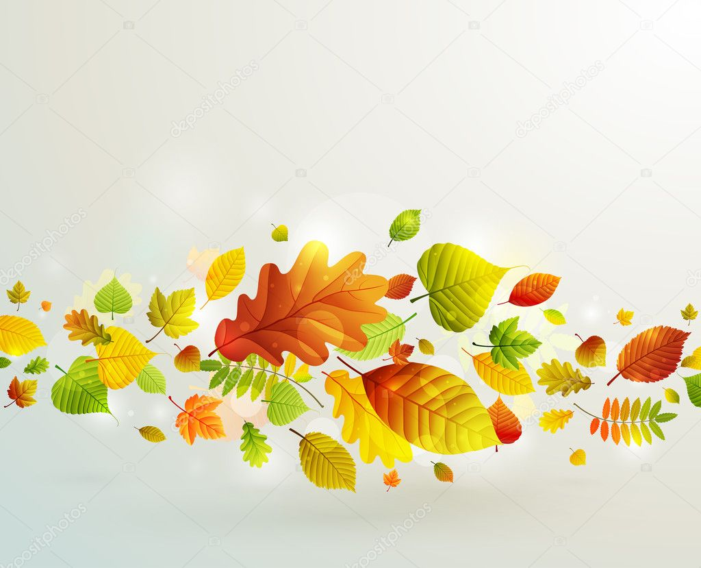 Autumn background with colorful leaves. Vector illustration. — Stock Vector #6659371