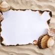 Burned paper on sand — Stock Photo