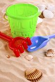 Children's toys on the beach — ストック写真