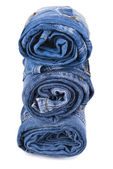 Stack of blue denim jeans — Stock Photo