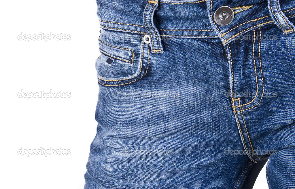 Women wearing a pair of blue jeans against white background — Stock Photo #5622283