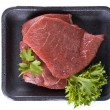 Beef frying steak in tray - isolated — Stock Photo
