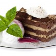 Tiramisu cake with ice cream — Stock Photo