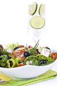 Fresh salad with drink — Stock Photo