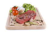 Beef frying steak with vegetables — Stock Photo