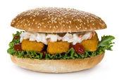 Fish fingers burger — Stock Photo