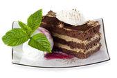 Tiramisu cake with ice cream — Stock Photo