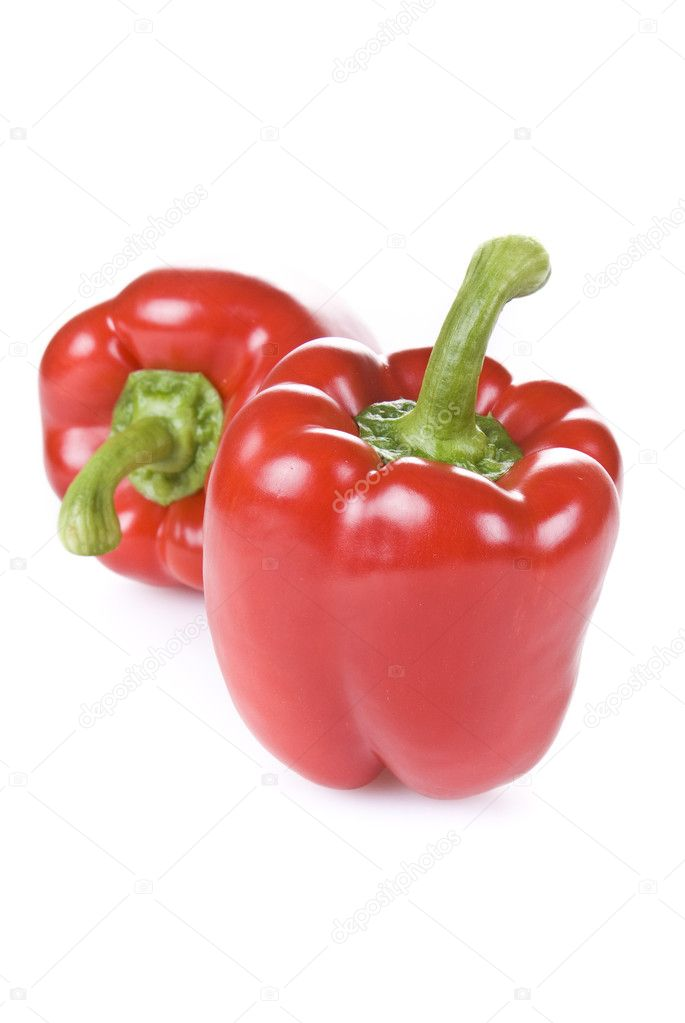 Red peppers isolated on white background  Stock Photo #6062694