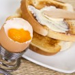 Stock Photo: Soft boiled egg with toasts
