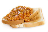 Baked beans on toasts — Stock Photo