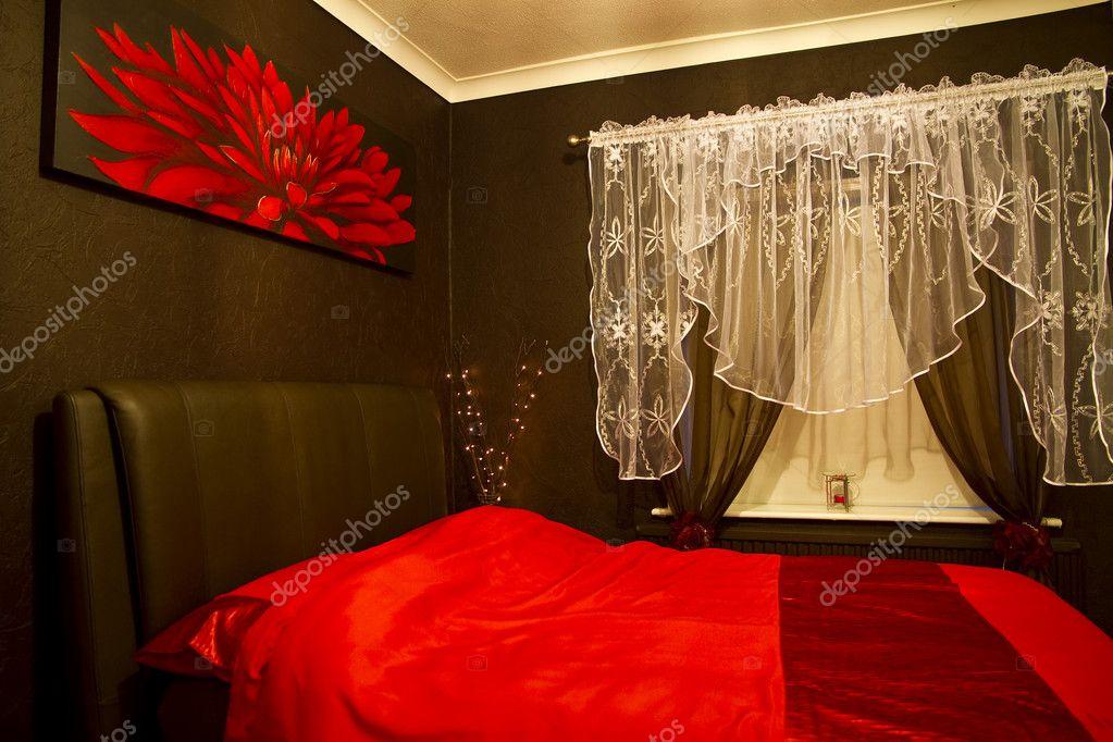 Romantic Red Brown Bedroom Stock Photo Caldix 6519065
