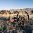 Wagon wheel rust old farm antique western plains - Stock Photo