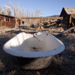 Foto de Stock  : Old bathtub in field abandoned country vintage