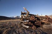 Rusty junk bumpers junkyard scrap salvage rusting abandoned — Stock Photo