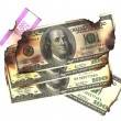 100 dollar bills burned financial loss recession depression risk — Stock Photo #5922347