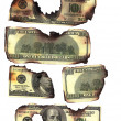 100 dollar bills burned financial loss recession depression risk — Stock Photo #5922380