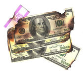 100 dollar bills burned financial loss recession depression risk — Stock Photo