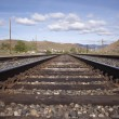Stock Photo: Steel railroad tracks for a train. landscape transportation track train