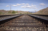 Steel railroad tracks for a train. landscape transportation track train — Stock Photo