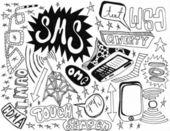 Telefono cellulare doodles - alta qualità — Foto Stock