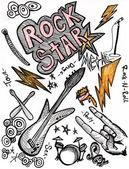 Rockstar hand drawing doodles — Stock Photo