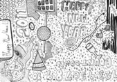 Happy new year hand drawn doodles — Stock Photo