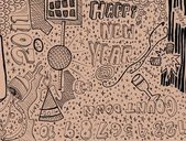Happy New Year Doodle — Stock Photo