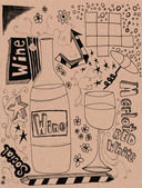 Hand drawn wine doodles — Stock Photo