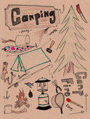 Hand drwan camping doodles — Stock Photo