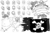 XXXL Hand drawn pirate skulls — Foto Stock