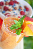 Peach cocktail with mint leaves — Stock Photo