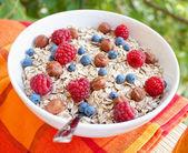Oat nuts breakfast — Stock Photo