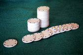 White poker chips — Stock Photo