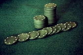 Green poker chips — Stock Photo