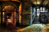 Abandoned Hallway Panorama — Stock Photo