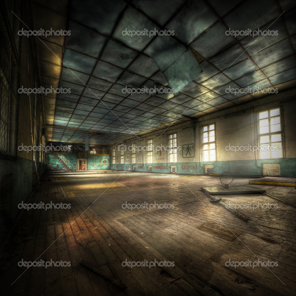 Abandoned gym with cyrellic letters on the walls, hdr processing — Stock Photo #5736075