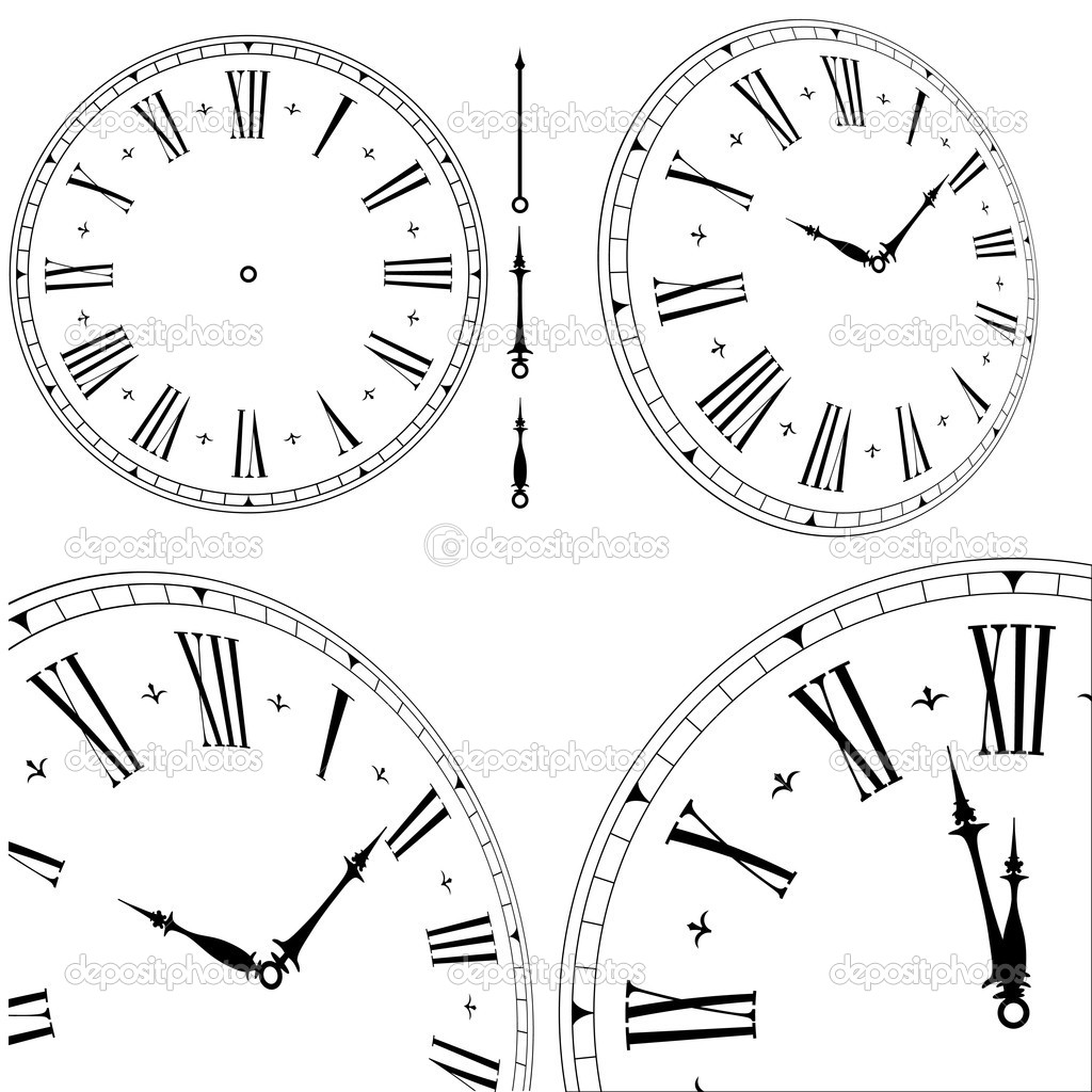 Illustration of an old clock face with different angles and hand positions, eps8 vector  Stock Vector #6223973