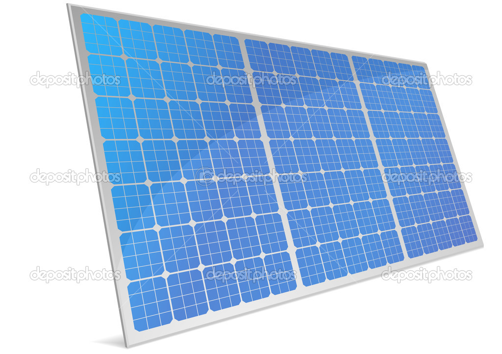 Illustration of a panel with solar cells and reflection, eps8 vector — Stock Vector #6242071